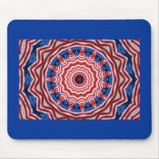 Red white blue fractal flag mouse pads