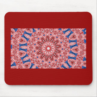 Red, white & blue fractal pattern design mouse pad