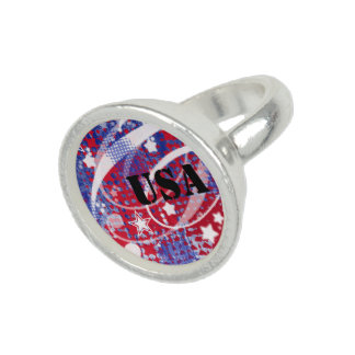 Red, White & Blue Glory Personalized Photo Rings
