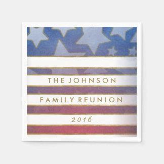 Red White Blue & Gold Custom Text Napkins Paper Napkins