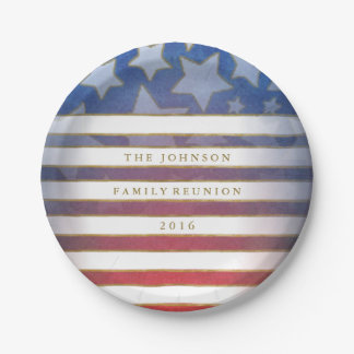 Red White Blue & Gold Stars & Stripes Custom Text 7 Inch Paper Plate