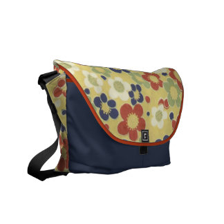 Red, White, Blue & Green Flowers Yellow Messenger Bag