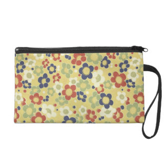 Red, White, Blue & Green Flowers Yellow Wristlet Clutch