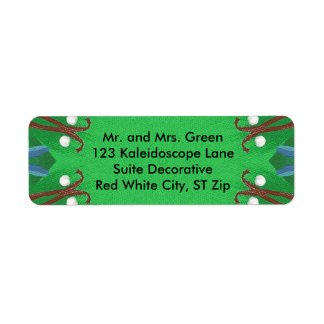 Red White Blue Green Kaleidoscope Christmas Labels