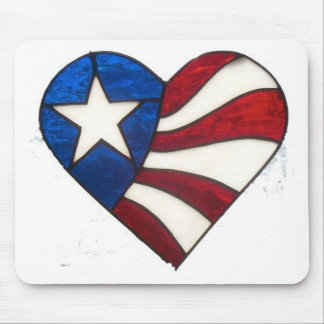 RED WHITE & BLUE HEART MOUSE PAD
