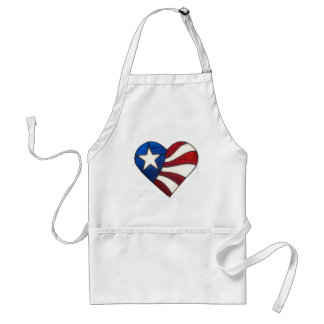RED WHITE & BLUE HEART STANDARD APRON