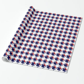 Red White Blue Houndstooth Wrapping Paper