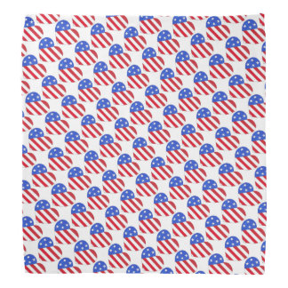 Red White Blue July 4th Patriotic USA Flag Heart Bandana