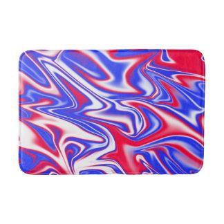 Red White Blue Marbleized Pattern, Bath Mat