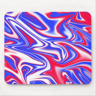 Red White Blue Marbleized Pattern, Mouse Mat
