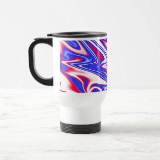 Red White Blue Marbleized Pattern, Travel Mug