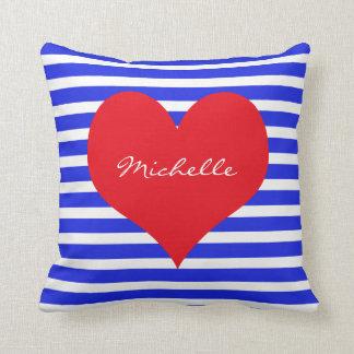 Red White Blue Monogram Heart Stripes Cushion
