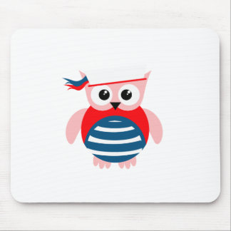 Red White Blue Nautical Owl Mouse Pads