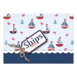 Red White Blue Nautical Ships Ahoy! Baby Shower 2 Invite