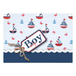 Red White Blue Nautical Ships Ahoy! Baby Shower Personalised Announcements