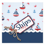 Red White Blue Nautical Ships Ahoy! Baby Shower S3 Personalised Invitation