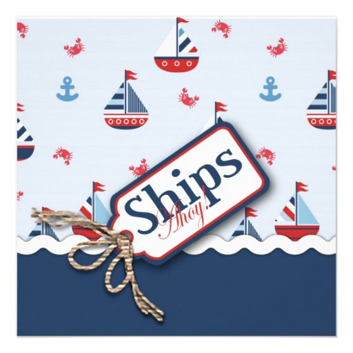 Red White Blue Nautical Ships Ahoy! Baby Shower S4