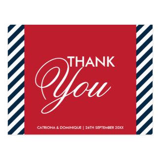 Red White Blue Nautical Stripes Thank You Postcard