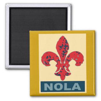 Red White Blue NOLa Fleur De Lis Square Magnet