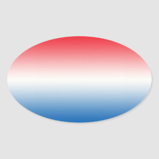 Red White & Blue Ombre Oval Sticker