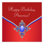 Red White Blue Patriotic 4th of July Party Custom Announcements