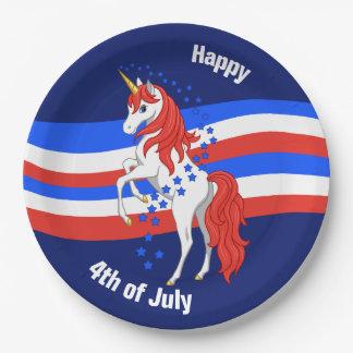 Red White Blue Patriotic American Unicorn 9 Inch Paper Plate