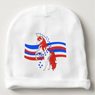 Red White Blue Patriotic American Unicorn Baby Beanie