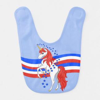 Red White Blue Patriotic American Unicorn Bib