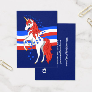 Red White Blue Patriotic American Unicorn Business Card