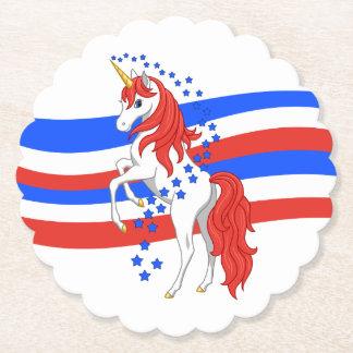Red White Blue Patriotic American Unicorn Paper Coaster