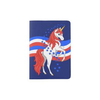 Red White Blue Patriotic American Unicorn Passport Holder
