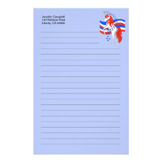 Red White Blue Patriotic American Unicorn Stationery Design