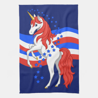 Red White Blue Patriotic American Unicorn Tea Towel