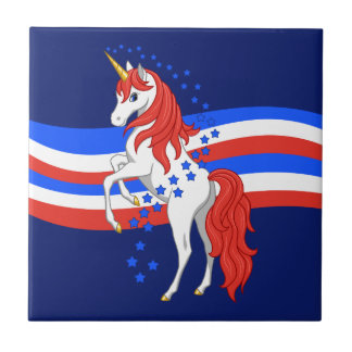Red White Blue Patriotic American Unicorn Tile