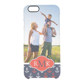 Red White & Blue Pattern| Your Photo & Monogram Clear iPhone 6/6S Case