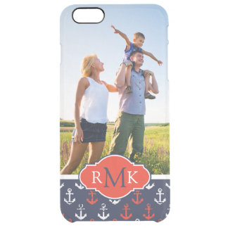 Red White & Blue Pattern| Your Photo & Monogram Clear iPhone 6 Plus Case
