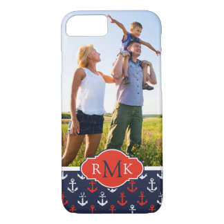 Red White & Blue Pattern| Your Photo & Monogram iPhone 8/7 Case