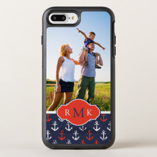 Red White & Blue Pattern | Your Photo & Monogram OtterBox Symmetry iPhone 7 Plus Case