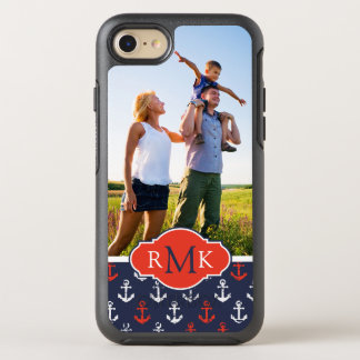 Red White & Blue Pattern | Your Photo & Monogram OtterBox Symmetry iPhone 8/7 Case
