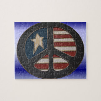 Red White Blue Peace Puzzle by Wanda-Lynn Searles