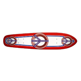 Red White & Blue Peace Sign 21.3 Cm Mini Skateboard Deck