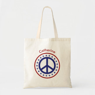Red White Blue Peace Sign and Stars Personalized Tote Bag