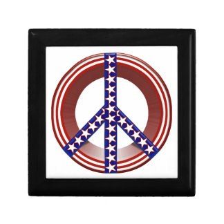 Red White & Blue Peace Sign Gift Box