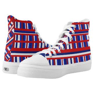 Red White & Blue Plaid Patriot Printed Shoes