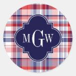 Red White Blue Preppy Madras Monogram Round Sticker