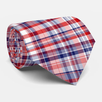 Red, White, Blue Preppy Madras Plaid Tie