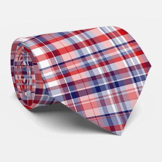 Red, White, Blue Preppy Madras Plaid Tie