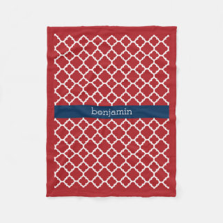Red White Blue Quatrefoil Pattern Baby Boy Fleece Blanket