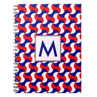 RED WHITE & BLUE RERO PRINT with MONOGRAM Notebooks