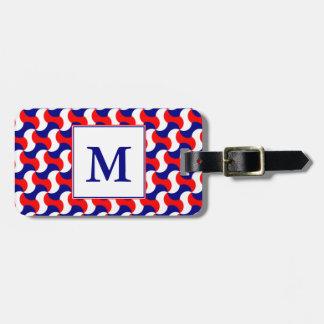 RED WHITE & BLUE RETRO PRINT with MONOGRAM Luggage Tag